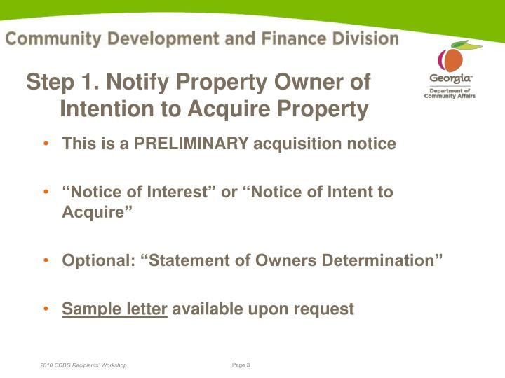 Step 1 notify property owner of intention to acquire property l.jpg