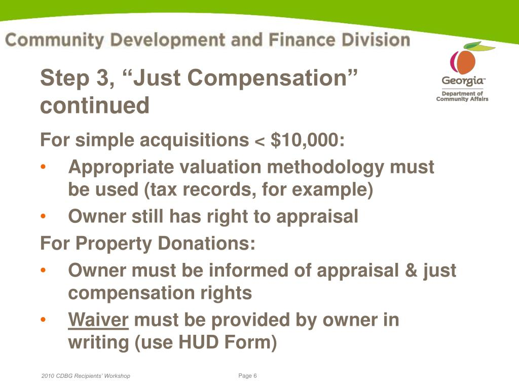 "Step 3, ""Just Compensation"" continued"