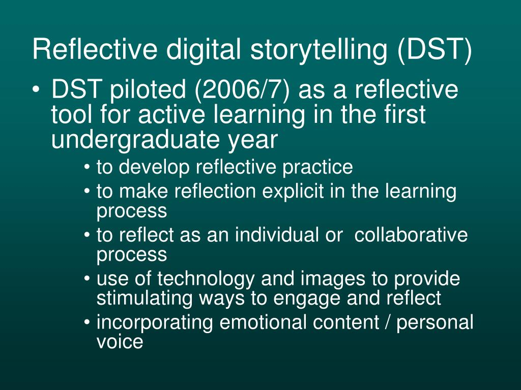 presentation using technology a personal reflection The reflection in a presentation portfolio is and demonstrate the many ways that students are using technology across personal information reflective.