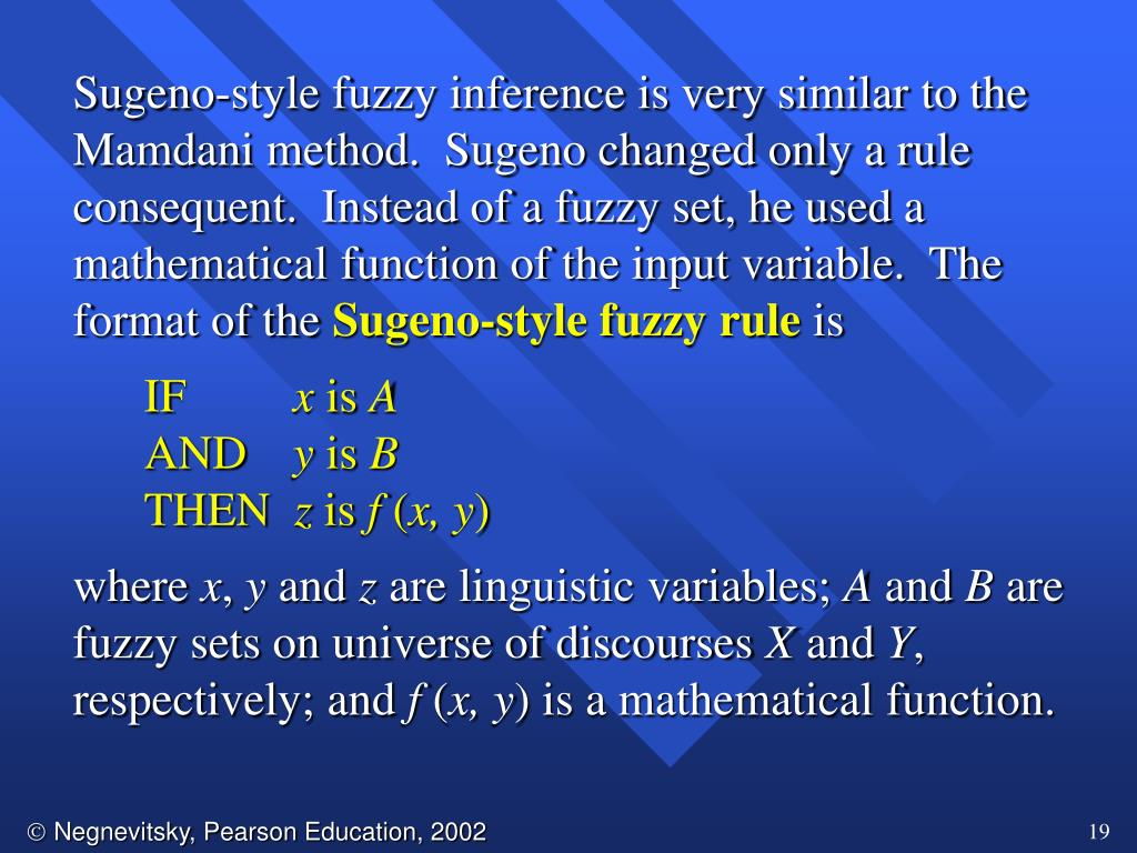 Sugeno-style fuzzy inference is very similar to the Mamdani method.  Sugeno changed only a rule consequent.  Instead of a fuzzy set, he used a mathematical function of the input variable.  The format of the