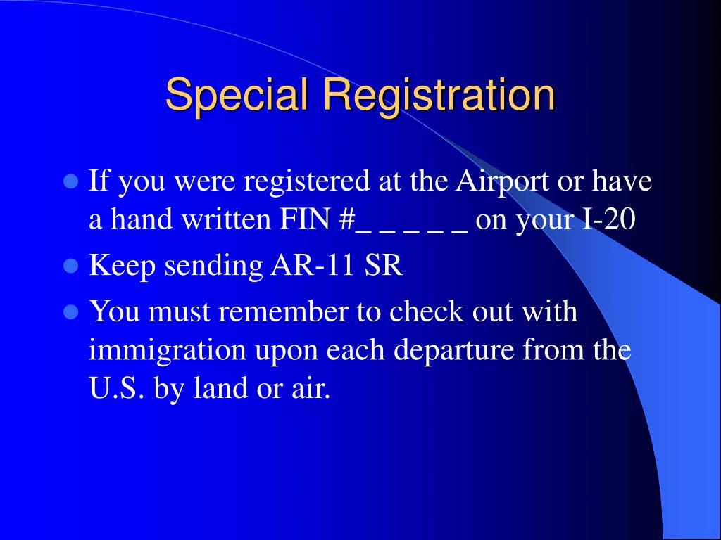 Special Registration