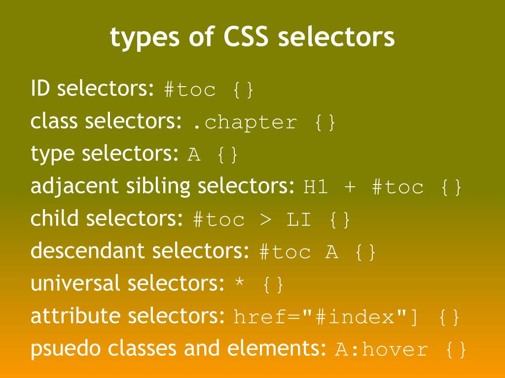 types of CSS selectors