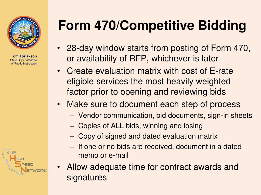 Form 470/Competitive Bidding
