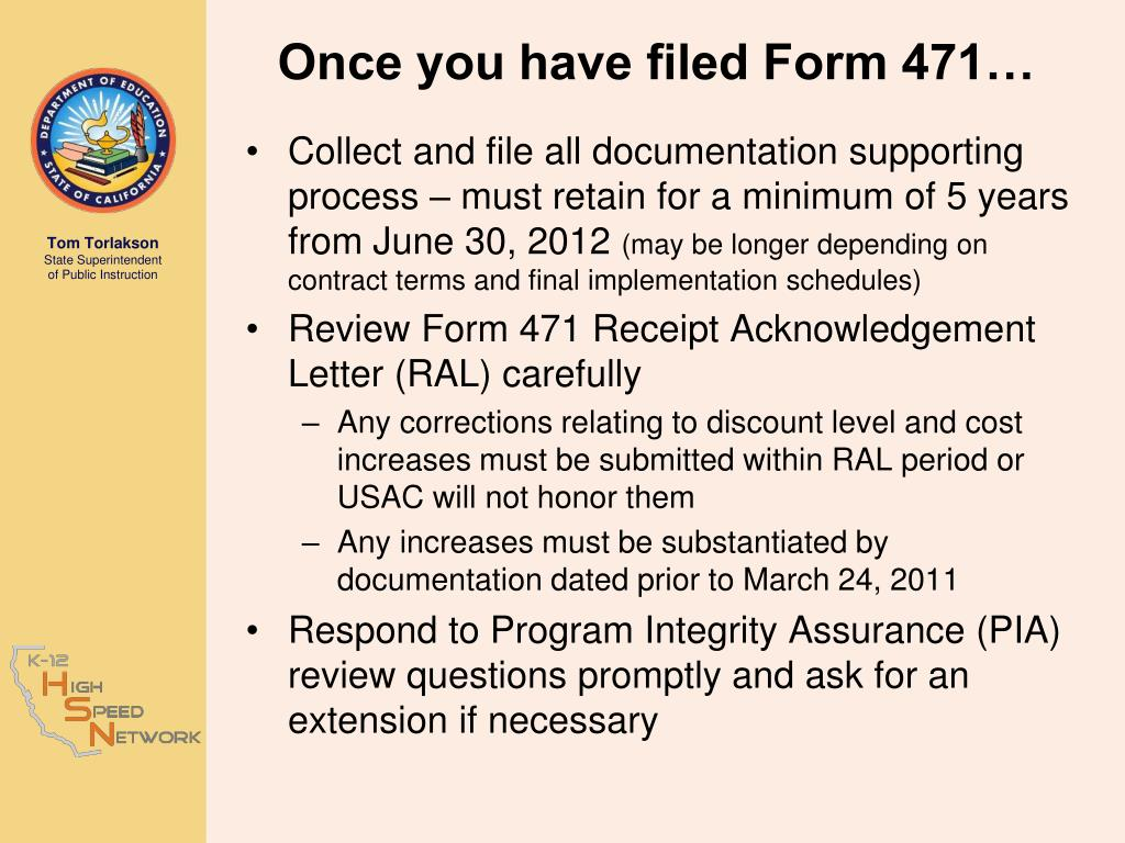 Once you have filed Form 471…