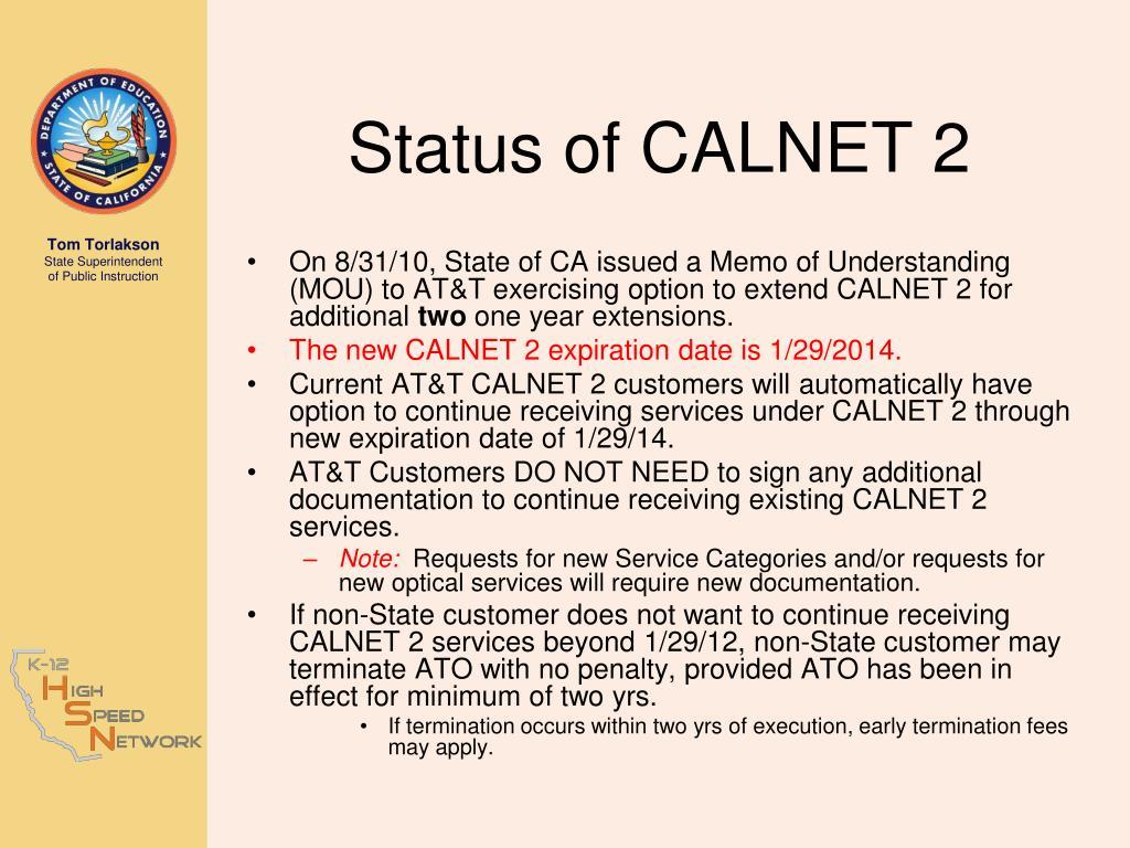 Status of CALNET 2