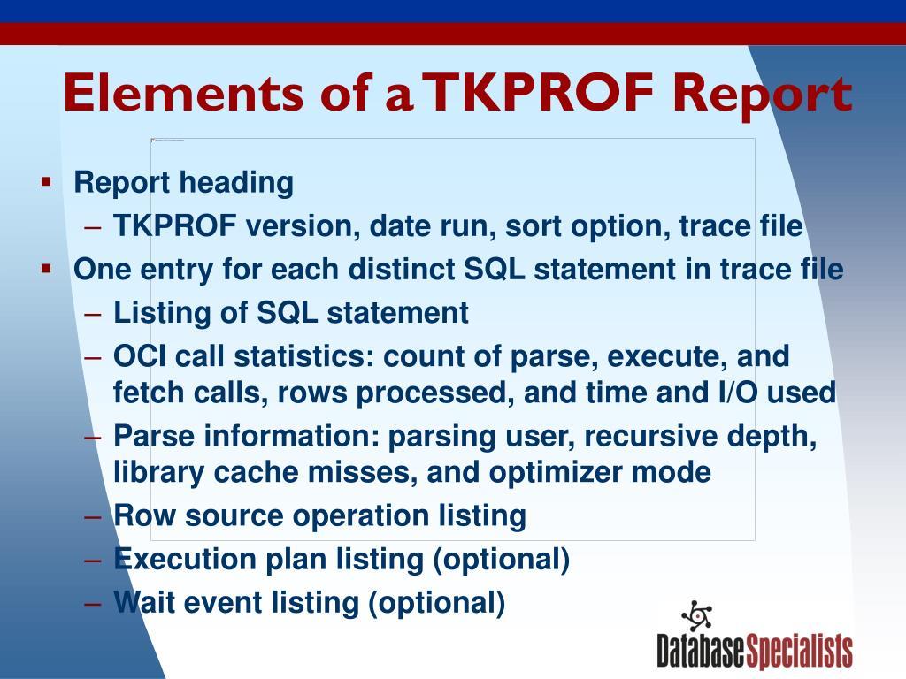 Elements of a TKPROF Report