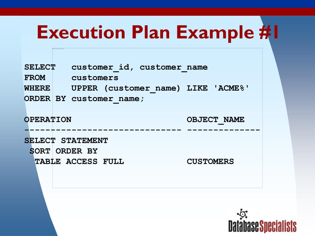 Execution Plan Example #1