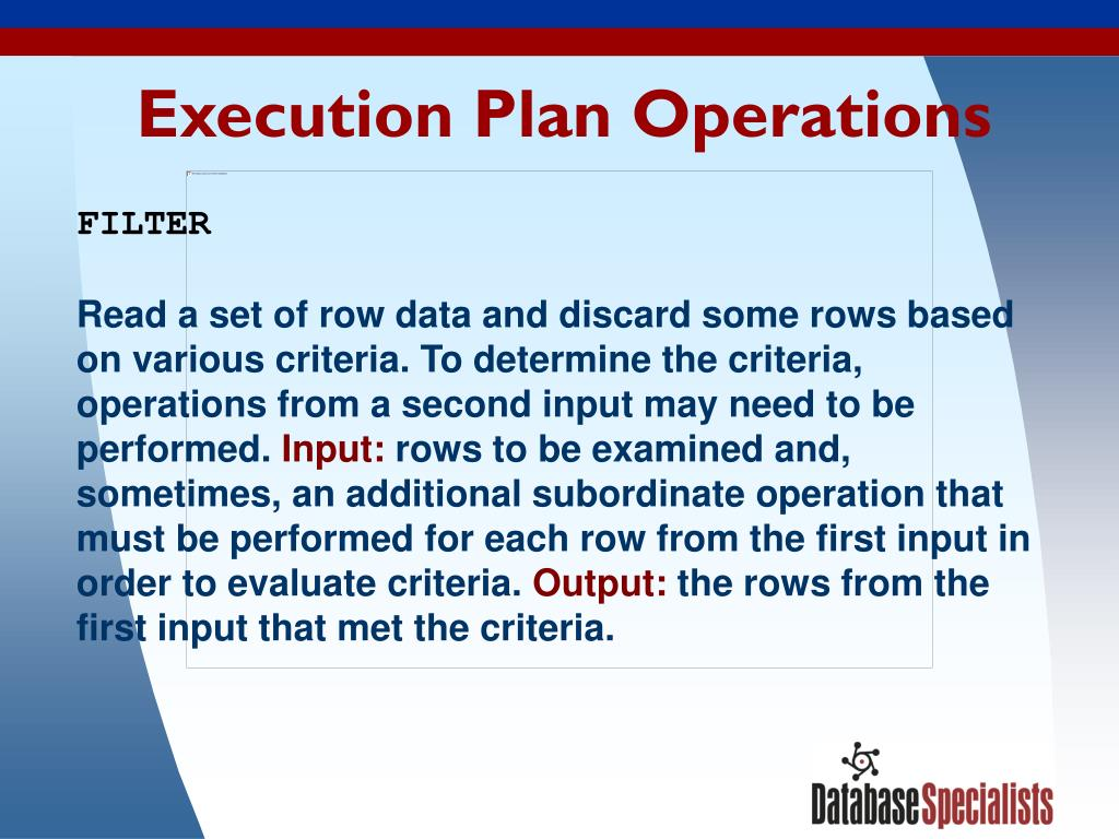 Execution Plan Operations