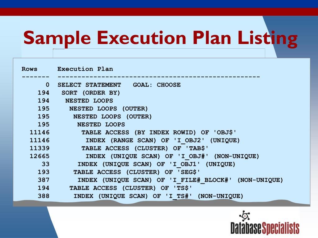 Sample Execution Plan Listing