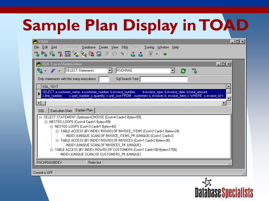 Sample Plan Display in TOAD