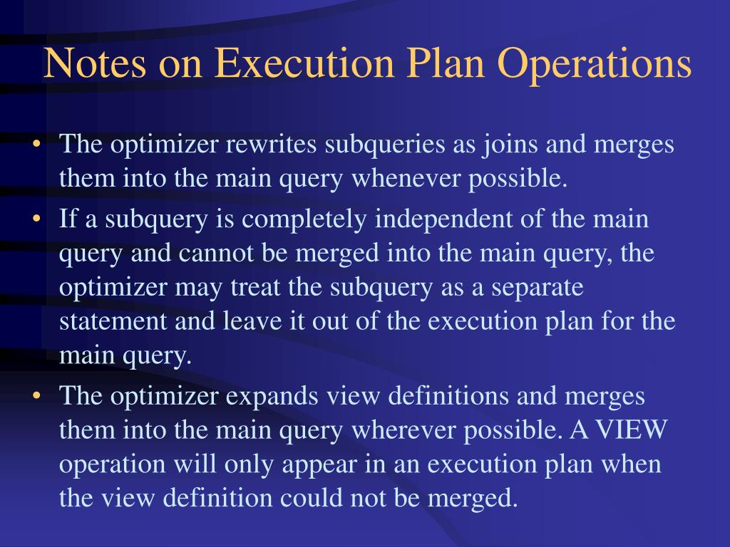 Notes on Execution Plan Operations