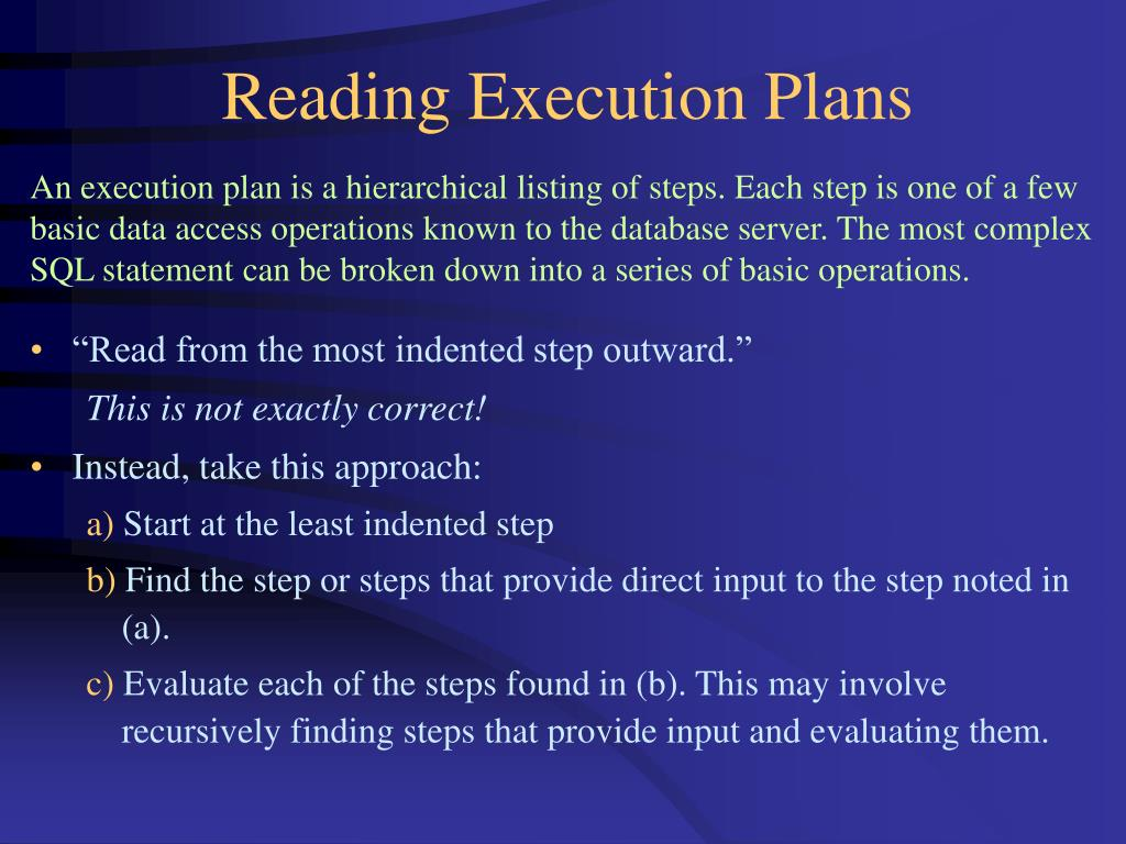 Reading Execution Plans