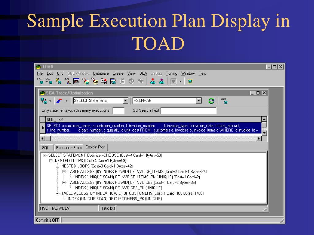 Sample Execution Plan Display in TOAD