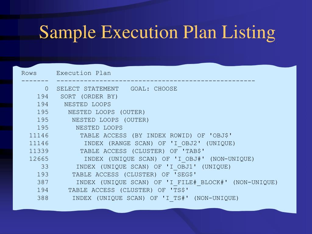 Sample Execution Plan Listing