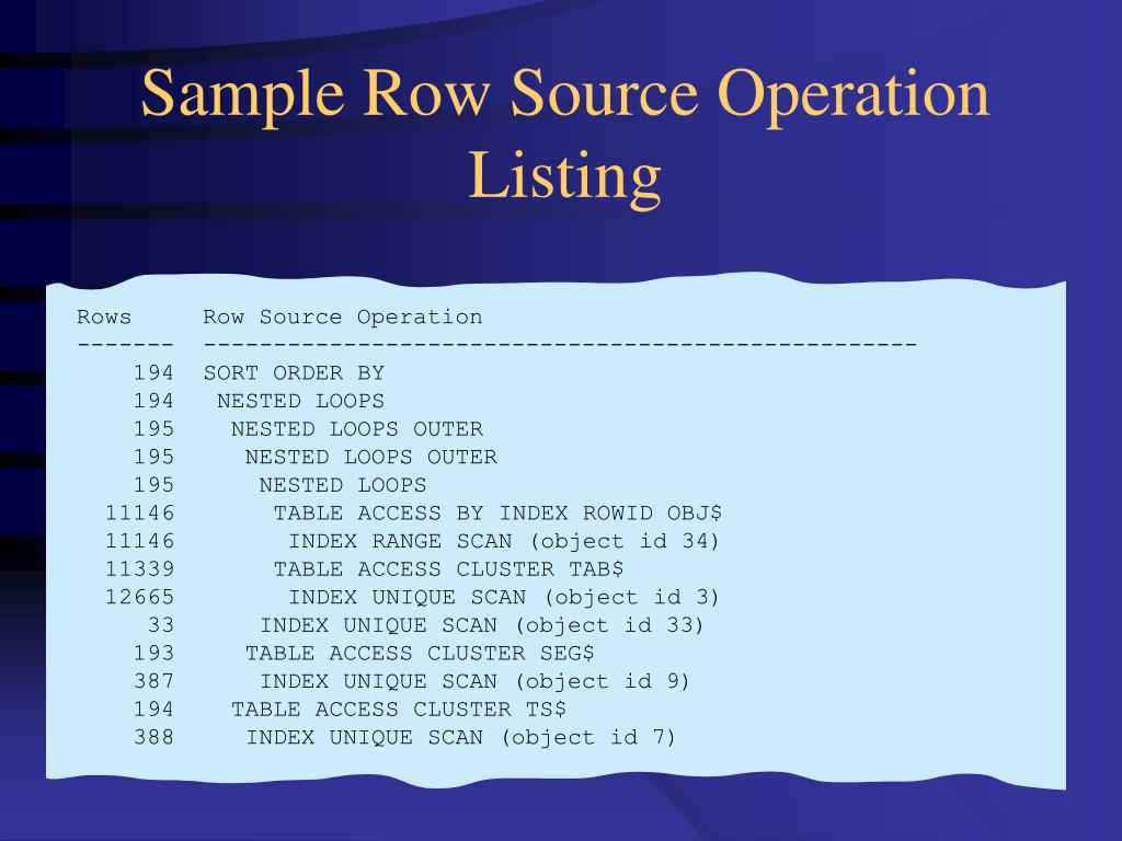 Sample Row Source Operation Listing