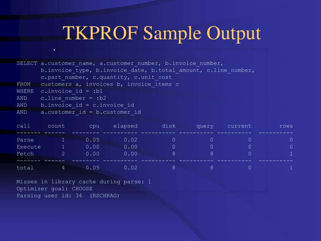 TKPROF Sample Output
