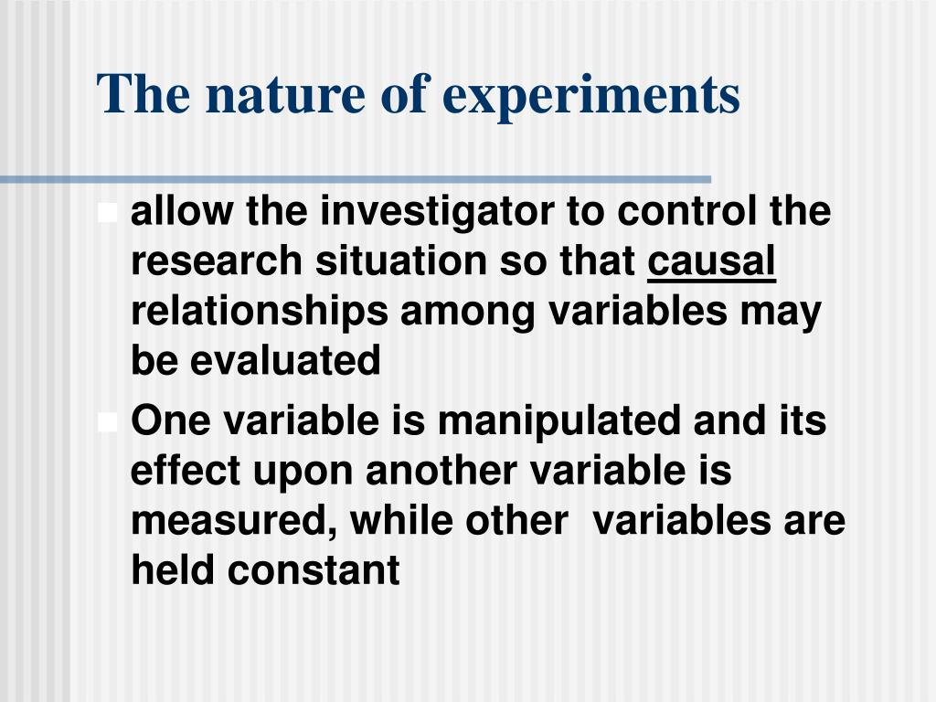 The nature of experiments