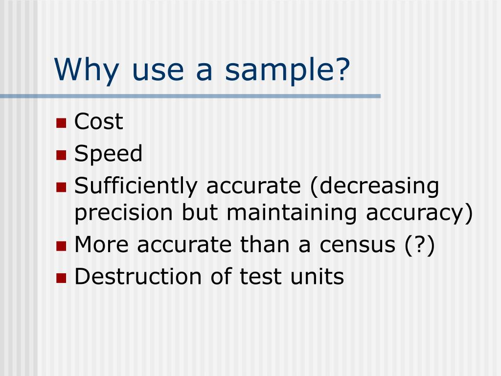 Why use a sample?