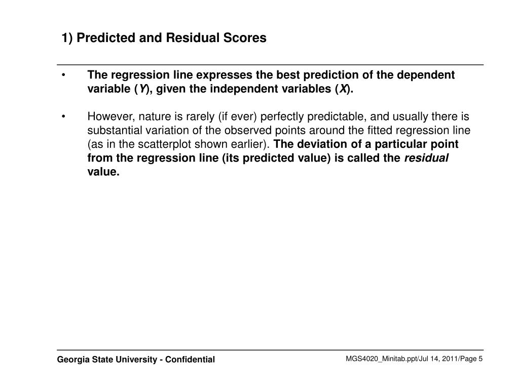 1) Predicted and Residual Scores