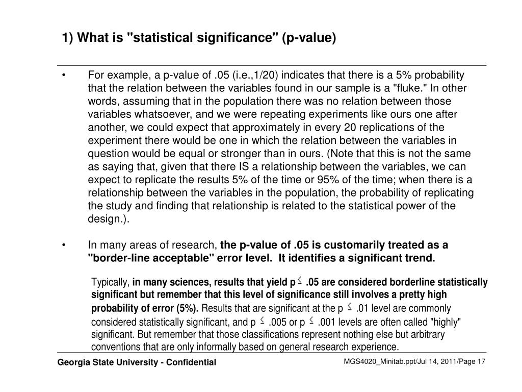 "1) What is ""statistical significance"" (p-value)"