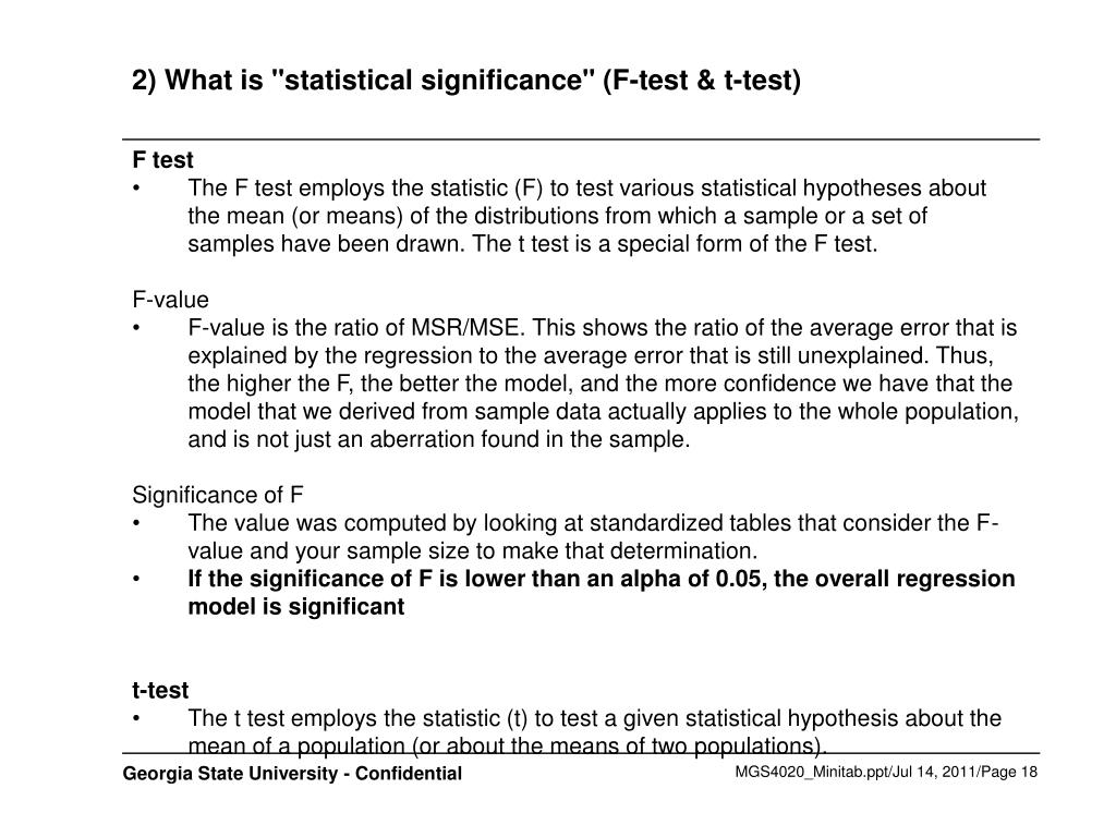"2) What is ""statistical significance"" (F-test & t-test)"