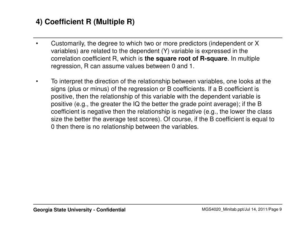 4) Coefficient R (Multiple R)