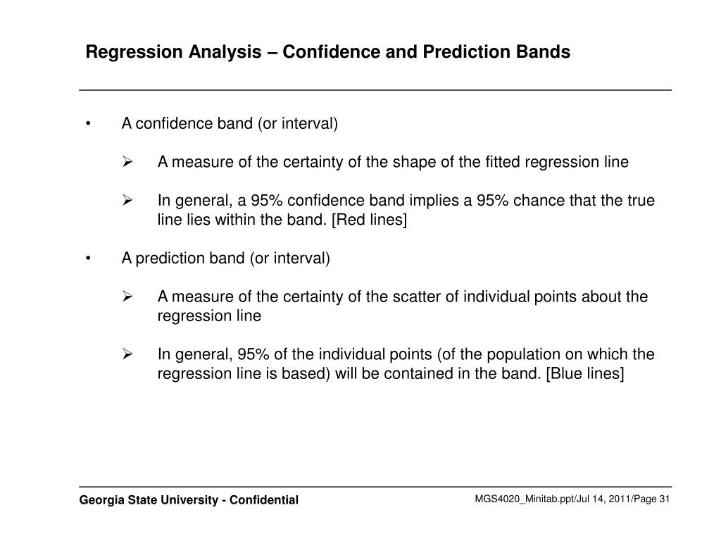 Regression Analysis – Confidence and Prediction Bands