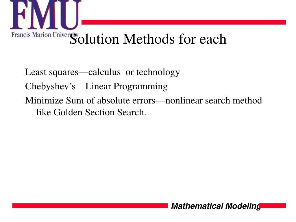Solution Methods for each