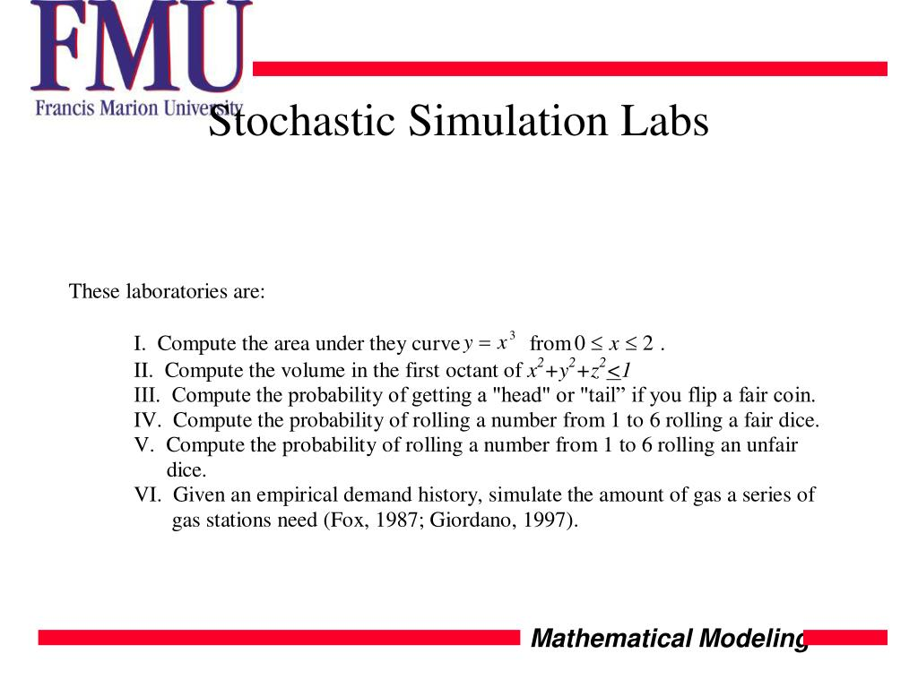 Stochastic Simulation Labs