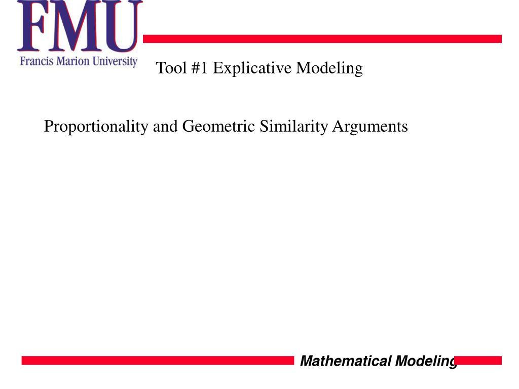 Tool #1 Explicative Modeling
