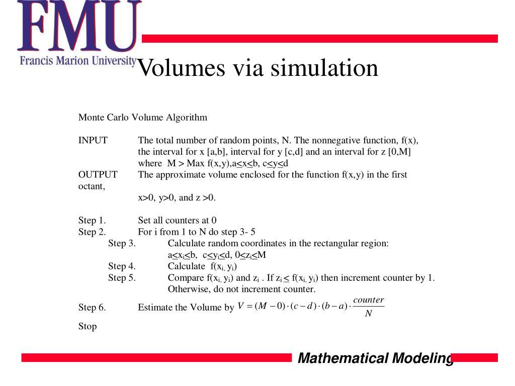 Volumes via simulation