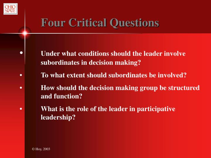 Four Critical Questions