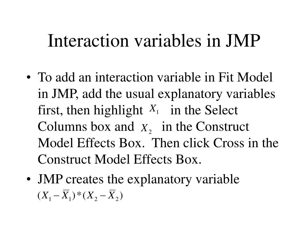 Interaction variables in JMP
