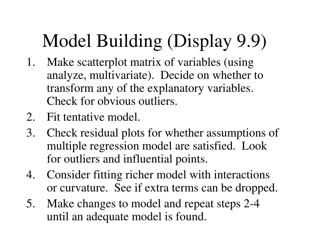 Model Building (Display 9.9)