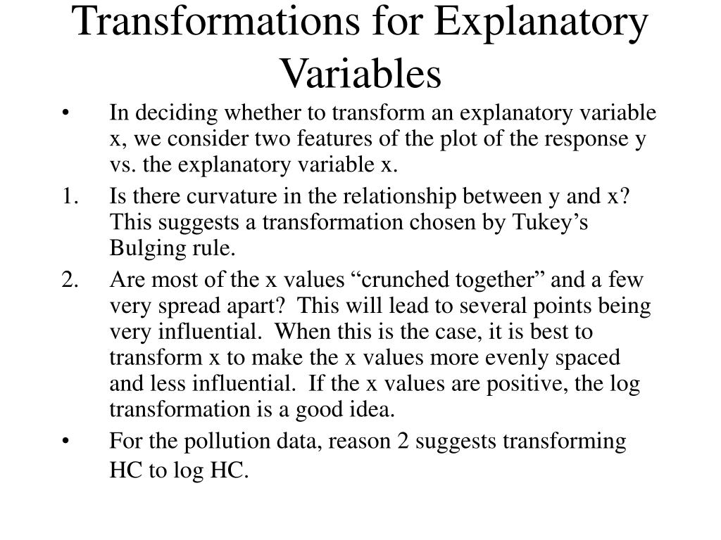 Transformations for Explanatory Variables