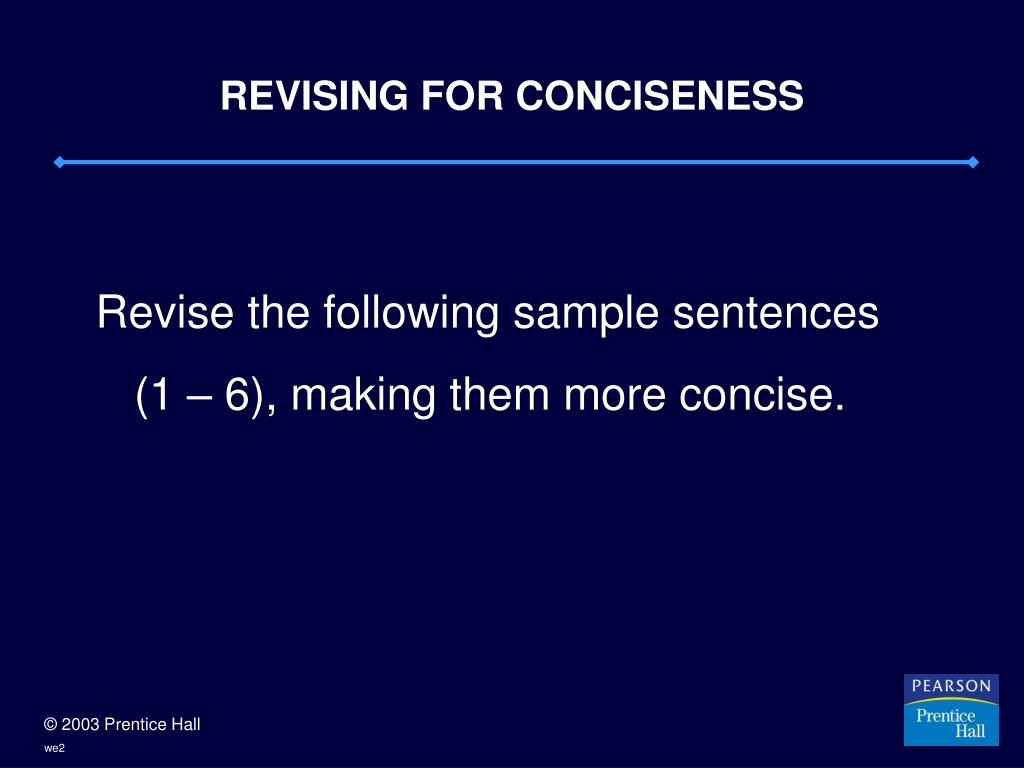 REVISING FOR CONCISENESS
