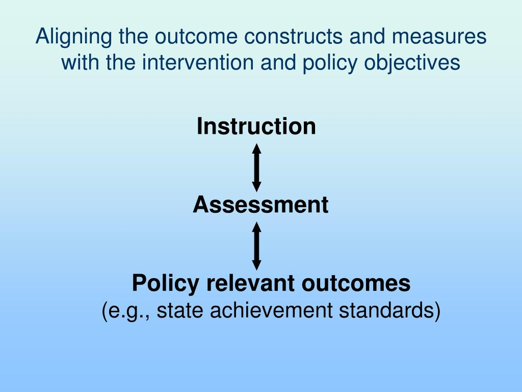 Aligning the outcome constructs and measures with the intervention and policy objectives