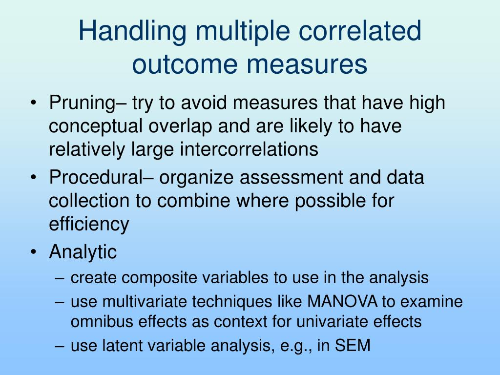 Handling multiple correlated outcome measures