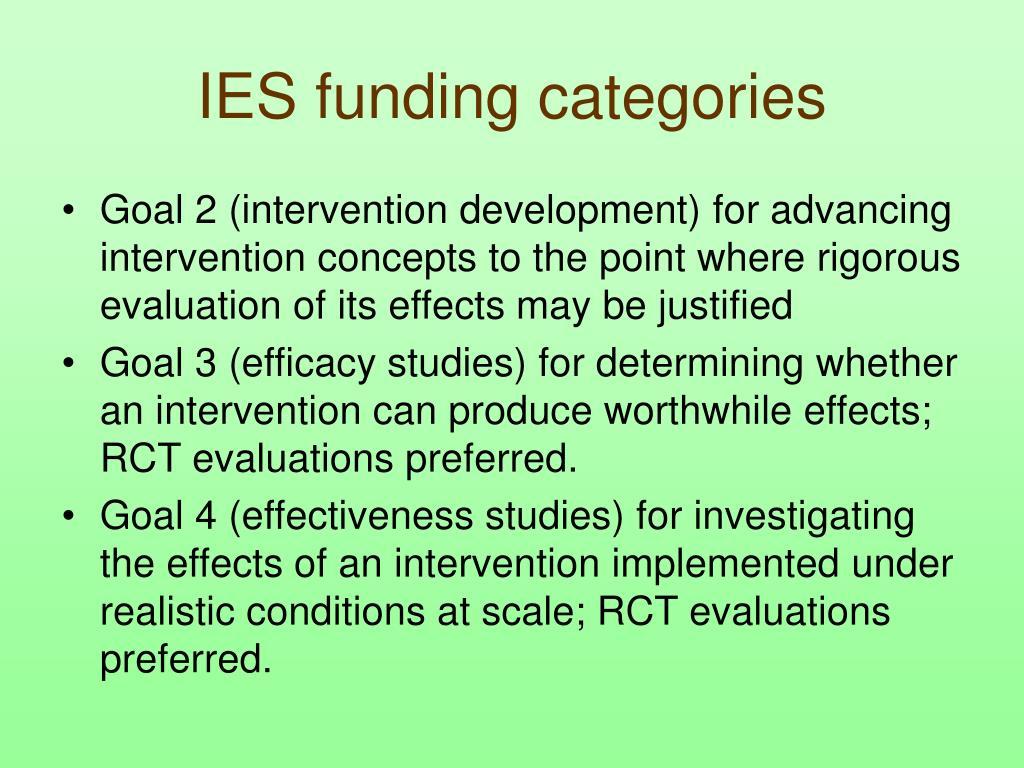 IES funding categories
