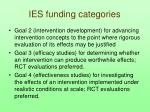 ies funding categories