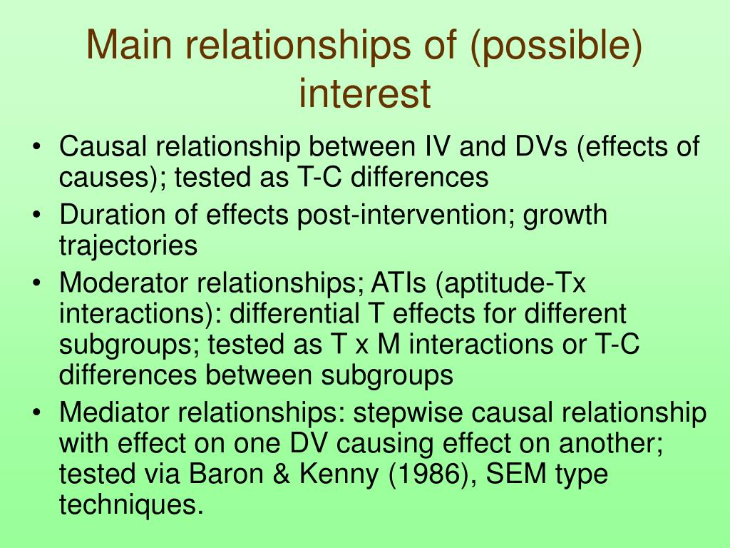 Main relationships of (possible) interest