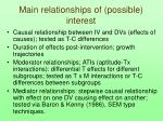 main relationships of possible interest