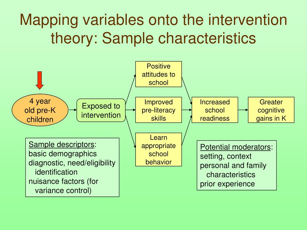 Mapping variables onto the intervention theory: Sample characteristics