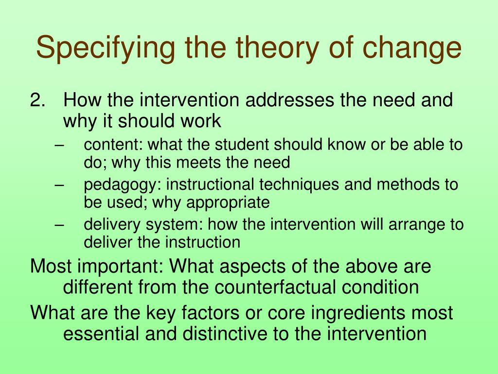 Specifying the theory of change