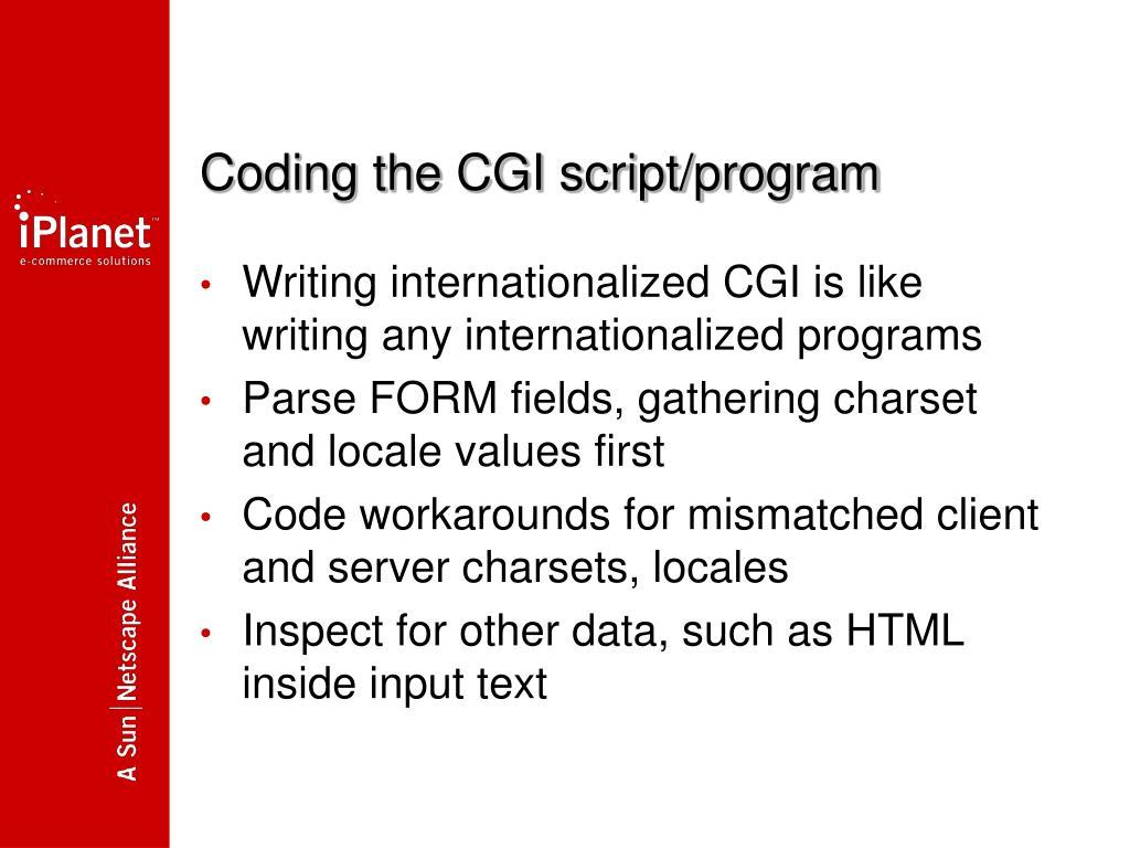 Coding the CGI script/program