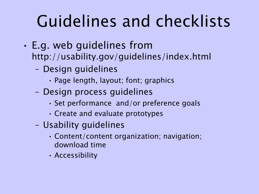 Guidelines and checklists