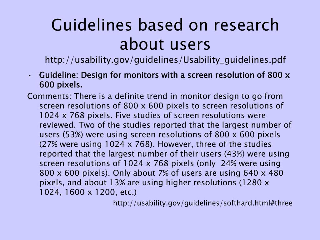 Guidelines based on research about users