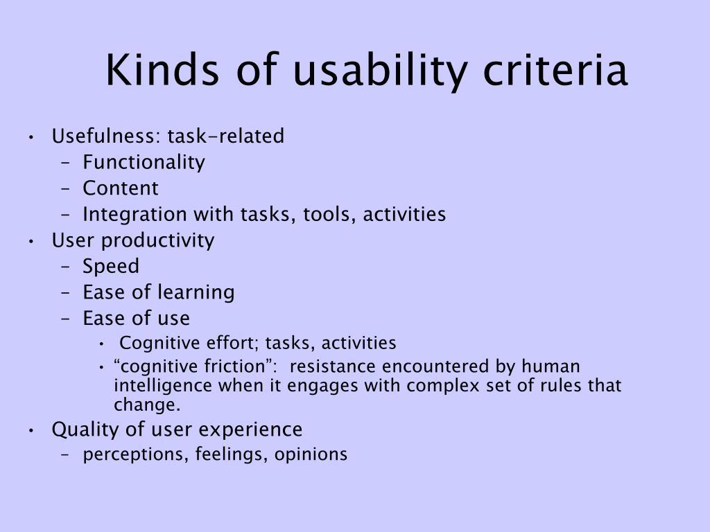 Kinds of usability criteria