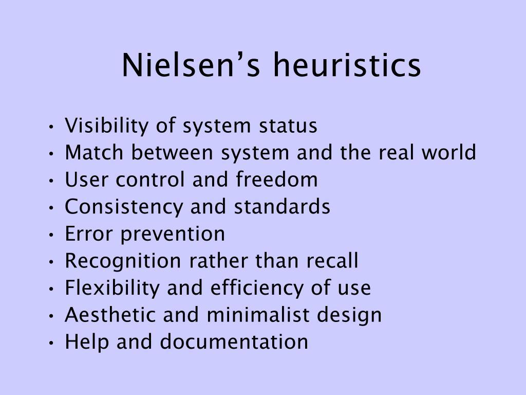 Nielsen's heuristics