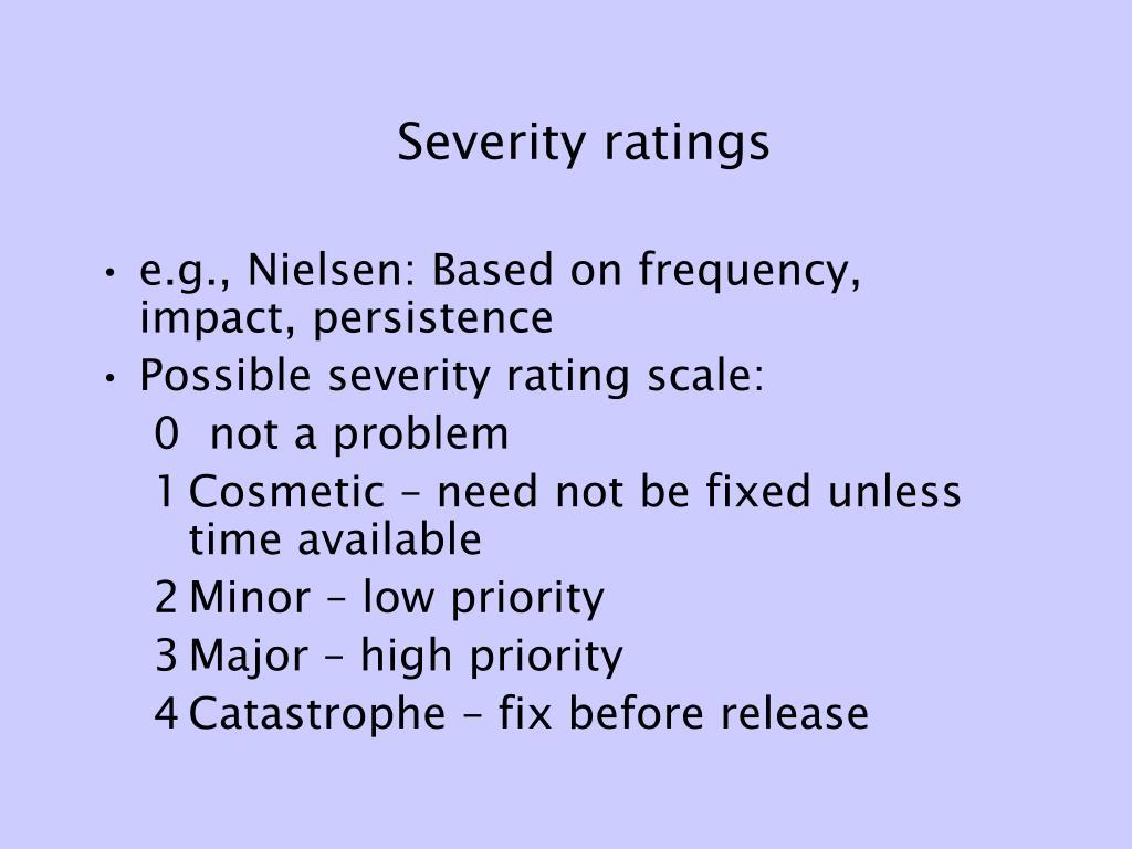 Severity ratings